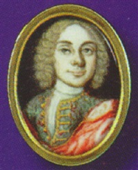 self-portrait, wearing full-bottomed wig, a red cape over his shoulder by robert french