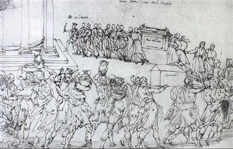 king solomon leading a procession carrying the ark by ercole setti