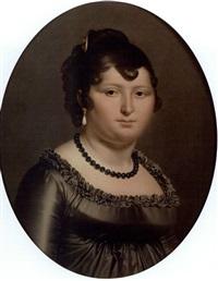 portrait d'une jeune femme au collier en perles de jais by jean-pierre granger