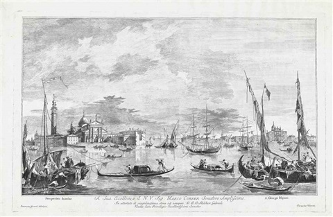 view of the isola di san giorgio maggiore prospectus insulae view of the riva di biasio prospectus smllr 2 works after francesco guardi by domigi valesio