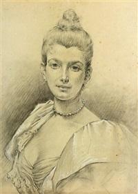 étude pour le portrait de madame dubufe (study) by edouard-marie-guillaume dubufe