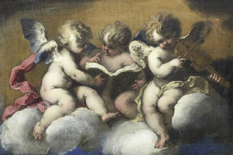 three putti sitting on a cloud reading two reading one playing a violin by valerio castello