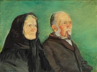 double portrait of a golden wedding couple from skagen on a green background by anna kirstine ancher
