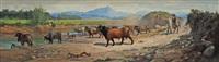 troupeau de taureaux by f. americo