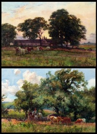 country landscapes with cattle grazing, figure and horses in farmstead (+ another; pair) by george hamilton constantine