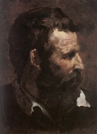 head of a bearded man in profile by domenico beccafumi