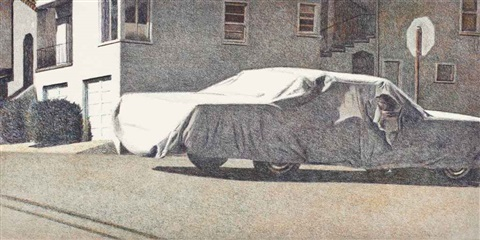 covered car missouri street by robert bechtle