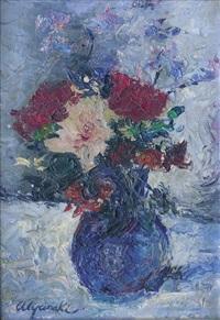 bouquet de fleurs dans un vase bleu by leonid alyanaki