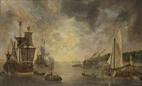 a harbour with a flute, a frigate firing a salute, a flute being careened and a states yacht by lieve pietersz verschuier