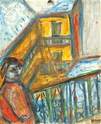 self-portrait (in the house/court) by imre ámos