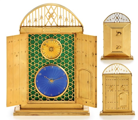 Solid Gold Dual Time Desk Clock The Gates Of Oman English Movements