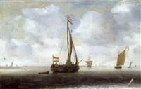 höllandische schiffe auf ruhiger see by hendrick van anthonissen