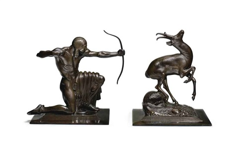 indian and pronghorn antelope (2 works) by paul howard manship
