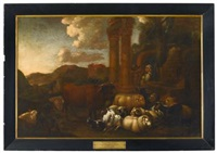 romantic landscape with domestic animals by continental school (17)