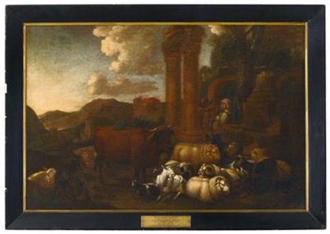 romantic landscape with domestic animals by continental school 17