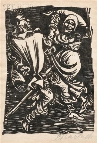 die trödelhexe and mephistopheles tanzend mit der alten (2 works) by ernst barlach