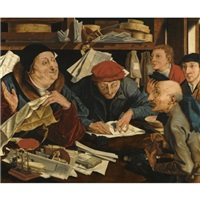 a tax gatherer with his clerks by marinus van reymerswaele