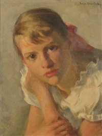 portrait of a young girl in a white frock by ivan g. olinsky