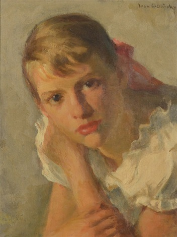portrait of a young girl in a white frock by ivan g olinsky