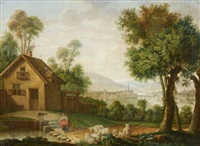 landscape with a farmhouse and a view of a to by anonymous-german (18)