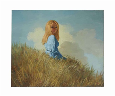girl on a hill by john currin