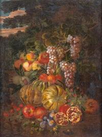 nature morte aux raisins, grenades et melons d'eau dans un paysage au crépuscule by michelangelo di campidoglio