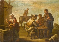 a village with men seated at a table, a woman at a well and a man on a donkey by giovanni michele graneri