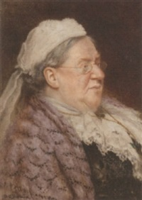 portrait of an elderly lady wearing a purple shawl by arthur charles shorthouse