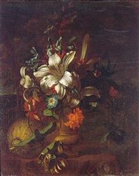 a still life of lilies, roses, convolvulus and other flowers in a stone urn beside a melon, in a landscape by karel borchaert voet