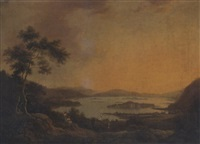 view of loch lene, lower lake killarney, with old muckross house in the foreground by william ashford