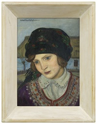 girl in a headscarf by vlastimil hofmann