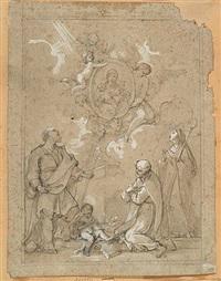 virgen con el niño apareciéndose a san josé, santa clara by pierre legros the younger