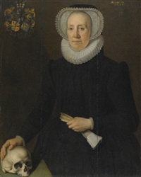 portrait of an elderly lady of the van heemstra family of friesland, holding a pair of gloves and with her right hand resting on a skull by willem key