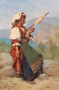 italienerin mit spinnrocken by pierre louis de coninck