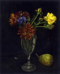 still life with vase of flowers and pear by jack cudworth