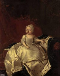 portrait of princess caroline matilda (?) in a lace dress and bonnet, seated on a sofa draped with a blue velvet ermine-lined cloak, the sofa surmounted by the prince of wales's feather badge by willem verelst