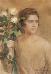 studjum kobiece z gałązką żółtych róż by teodor axentowicz