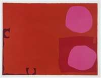 two pink discs in dark reds by patrick heron