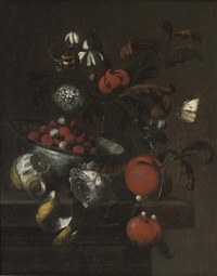 a delft blue and white bowl with cherries, clementines, a rose, mixed flowers in a glass vase and a partly-peeled lemon by martinus nellius