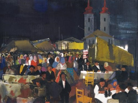 figures in a village market by vilmos aba novák