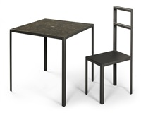 a hamlet machine chair and table (set of 2) by robert wilson