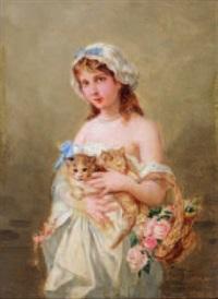 jeune fille aux chatons et au panier de roses by henri pierre picou