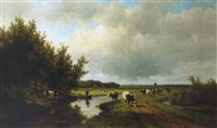 landschap aan de wippervaart te heemstede: an extensive polder landscape in summer by willem vester
