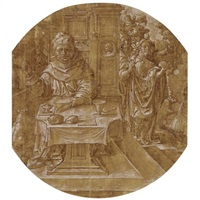 a monk seated at a table, approached by other figures by dirk jacobsz vellert