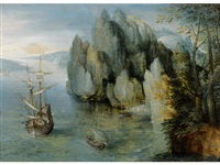 a rocky coastal landscape with a man-of-war firing a salute by hans liefrinck the younger