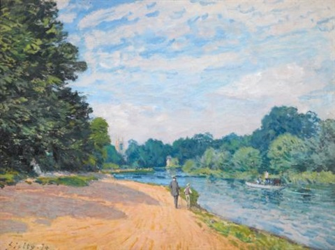la tamise avec hampton church by alfred sisley