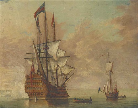 the flagship royal sovereign stern quarter view saluting the arrival of the admiral by samuel scott