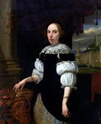 portrait de jeune femme tenant une montre by horatius paulyn