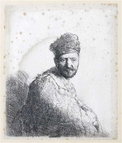bearded man in a furred oriental cap and robe the artists father by rembrandt van rijn
