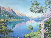 reflections on a mountain lake; by herbert otto sellin
